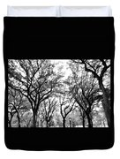 Central Park Nyc In Black And White Duvet Cover