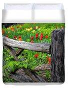 Central Park Shakespeare Garden New York City Ny Wooden Fence Duvet Cover