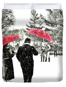 Central Park Snow And Red Umbrellas Duvet Cover