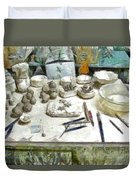 Ceramic Objects And Brushes On The Table Duvet Cover