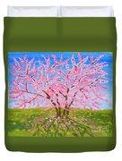 Cercis Tree, Oil Painting Duvet Cover