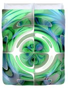 Cerulean Blue And Jade Abstract Collage Duvet Cover