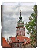 Cesky Krumlov Castle Tower In Cesky Krumlov Of The Czech Republic Duvet Cover