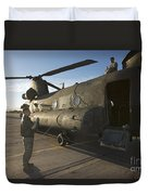 Ch-47 Chinook Crew Preparing To Load Duvet Cover