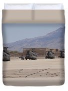 Ch-47 Chinook Helicopters On The Flight Duvet Cover