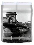 Chain Bridge Of Budapest In 1990 Duvet Cover