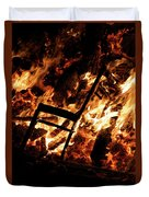 Chair Burning In Guy Fawkes Night Bonfire Duvet Cover