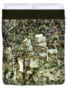 Chairs In Backyard Duvet Cover