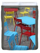 Chairs In Bryant Park Duvet Cover by Lauri Novak