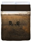 Chairs Overlook A Scenic Pasture Duvet Cover