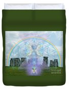Chalice Over Stonehenge In Flower Of Life And Man Duvet Cover
