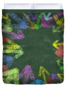 Chalk Drawing Colorful Arrows Duvet Cover