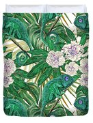 Chameleons And Camellias  Duvet Cover