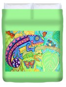 Chamelion And Rainforest Frogs Duvet Cover