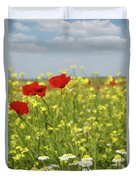 Chamomile And Poppy Flowers Meadow Duvet Cover