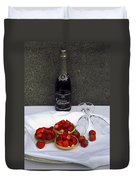 Champagne Bottle With Strawberry Tarts And 2 Glasses Duvet Cover
