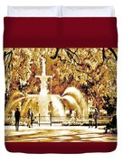Champagne Twilight Forsyth Park Fountain In Savannah Georgia Usa  Duvet Cover