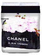 Chanel Bag With Peony  Duvet Cover