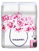 Chanel Bag With Pink Peonys Duvet Cover