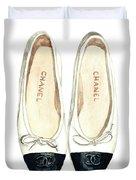 Chanel Ballet Flats Classic Watercolor Fashion Illustration Coco Quotes Vintage Paris Black White Duvet Cover by Laura Row