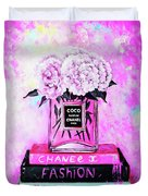 Chanel Perfume With Peony Duvet Cover