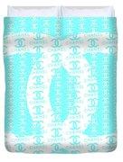 Chanel Logo Blue Teal White Duvet Cover