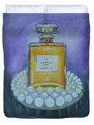 Chanel No 5 With Pearls Painting Duvet Cover
