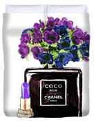 Chanel Noir Perfume Bottle Duvet Cover