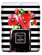 Chanel Noir Perfume With Corn Poppy Duvet Cover