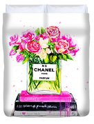 Chanel Nr 5 Flowers With  Perfume Duvet Cover