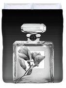 Chanel Perfume Black Flower Duvet Cover