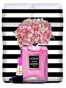 Chanel Poster Pink Perfume Hydrangea Print Duvet Cover