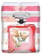 Chanel Red Flower Duvet Cover