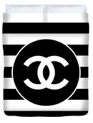 Chanel - Stripe Pattern - Black And White 2 - Fashion And Lifestyle Duvet Cover
