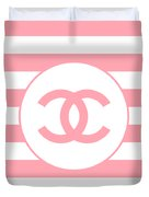 Chanel - Stripe Pattern - Pink - Fashion And Lifestyle Duvet Cover