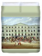 Changing Horses Outside The Plough Inn Duvet Cover