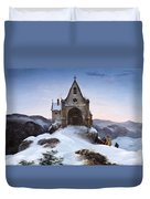 Chapel On A Mountain In Winter Duvet Cover