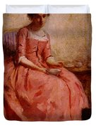 Chaplin Charles Girl In A Pink Dress Reading With A Dog Duvet Cover