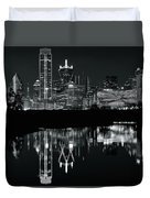 Charcoal Night In Dallas Duvet Cover