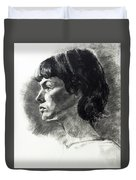 Charcoal Portrait Of A Pensive Young Woman In Profile Duvet Cover