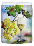 Chardonnay Wine Glass And Grapes Duvet Cover