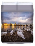Charles Bridge, Prague With Swans Duvet Cover