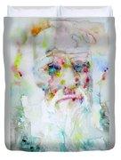 Charles Darwin - Watercolor Portrait.5 Duvet Cover