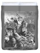 Charles Martel, Battle Of Tours, 732 Duvet Cover by Photo Researchers