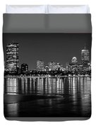 Charles River Boston Ma Prudential Lit Up Not Done New England Patriots Black And White Duvet Cover