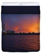 Charles River Vibrant Sunset Boston Ma Duvet Cover