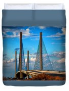Charles W Cullen Bridge South Approach Duvet Cover