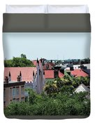 Charleston Rooftops - Queen And Church Streets Duvet Cover