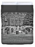 Charleston Waterfront Park Fountain Black And White Duvet Cover