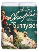 Charlie Chaplin In Sunnyside 1919 Duvet Cover